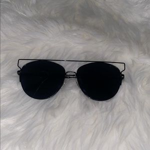 Women's black wired sunglasses.